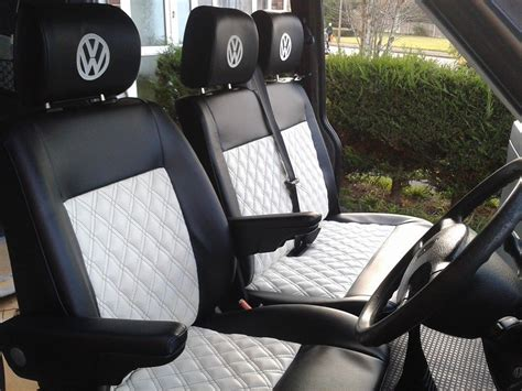 black and white upholstered t4 seats vdub trimshop