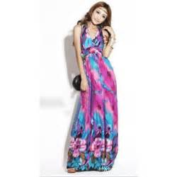 colorful v neck maxi dress
