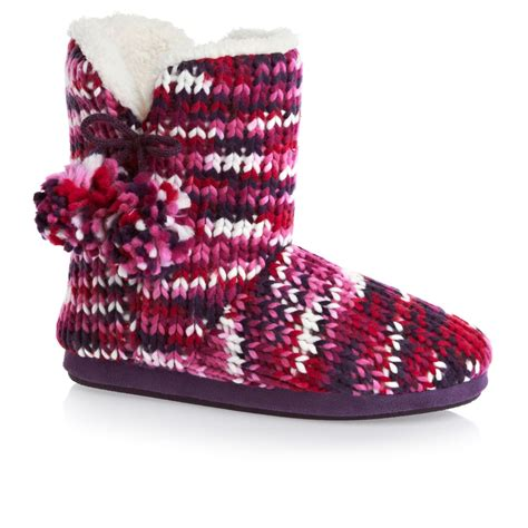 vs slippers totes chunky knit bootie slippers pink free uk delivery