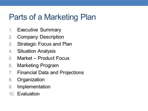 sections of marketing plan marketing plan ppt video online download