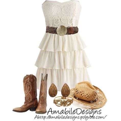 country style dresses country chic want a white dress and boots like this