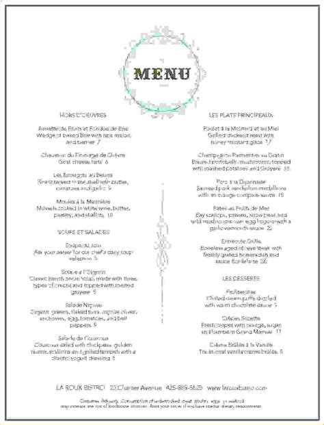 template of a menu 8 menu template procedure template sle