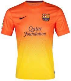 Nike fc barcelona 2012 2013 away soccer jersey safety orange tour