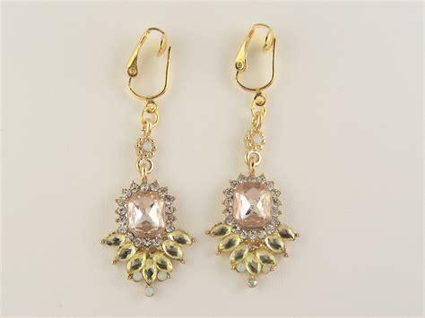 Chandelier Clip Earrings Blush Pink Style Chandelier Clip On Earrings