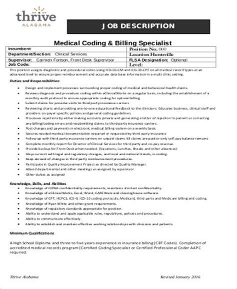 9 Medical Coding Job Description Sles Sle Templates Biller Description Template