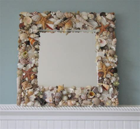 seashell decorations home beach decor shell mirror nautical decor natural seashell