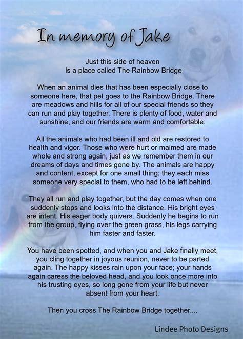 rainbow bridge jake memorial poem  personalized