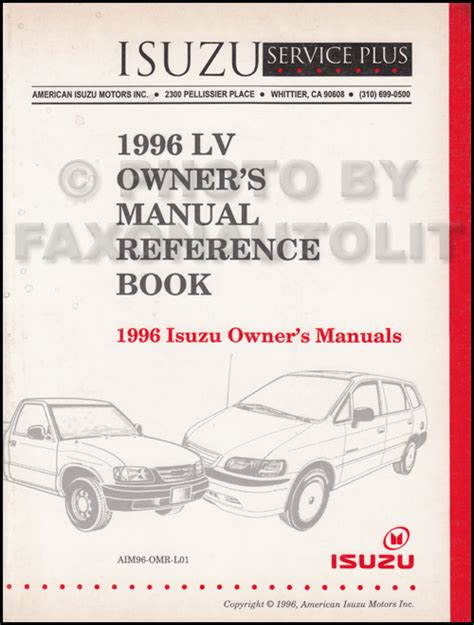 download car manuals 1996 honda passport user handbook 1996 1997 isuzu rodeo honda passport driveability emissions repair shop manual