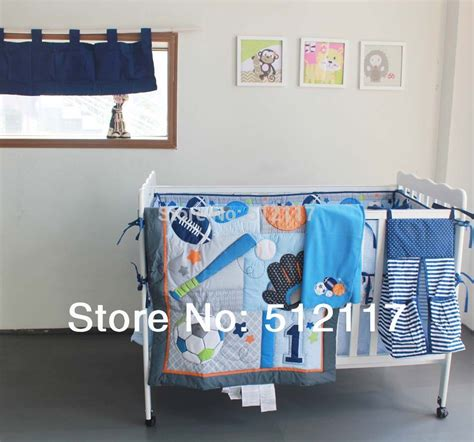 baby boy sports crib bedding new 7pcs embroidered base ball sports boy baby cot crib