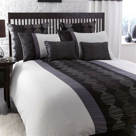 Duvet Sets Black And White Orbit Black White Grey Modern Embroidered Single Duvet