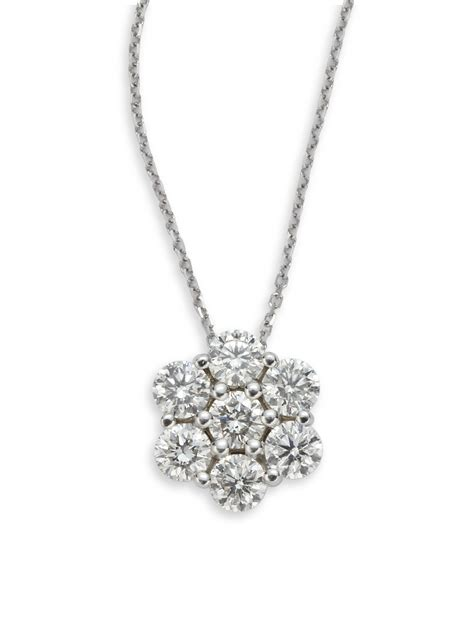 kc designs flower pendant necklace in silver lyst
