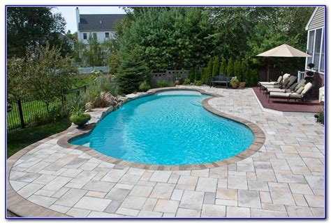 paver brick pool deck with brown concrete and pavers concrete paver pool deck decks home decorating ideas