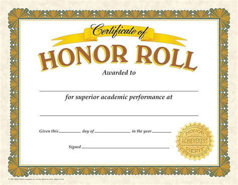 honor roll certiticate quotes