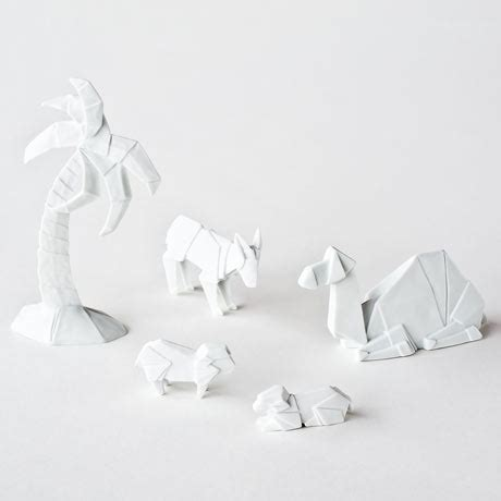 origami nativity figures glazed porcelain camel