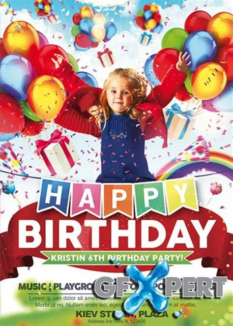 free kids happy birthday premium flyer template facebook