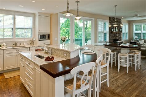 t shaped kitchen island with wooden countertop home traditional kitchen double island rounded wood top