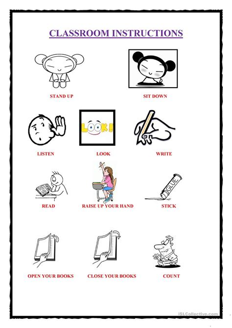 printable instructions classroom classroom instructions 1 worksheet free esl printable