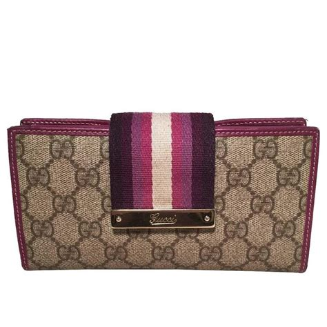 gucci monogram purple striped canvas wallet for sale at 1stdibs