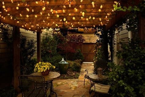 Outdoor Decorative Patio String Lights Sparkling Outdoor String Lights For Cozy Patio Decor Using Wooden Pergola And Flagstone Floor
