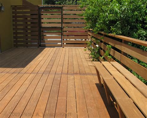 wood deck bench modern ironwood ipe wood deck with gate and benches a deck contractor photo