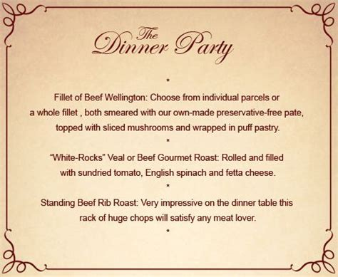 Elegant Dinner Party Menu Ideas | 50th birthday party dinner menu ideas friends for drinks