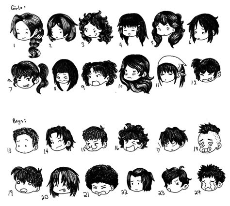 cartoon hairstyles cute chibi hair styles by supercatgirl deviantart com on