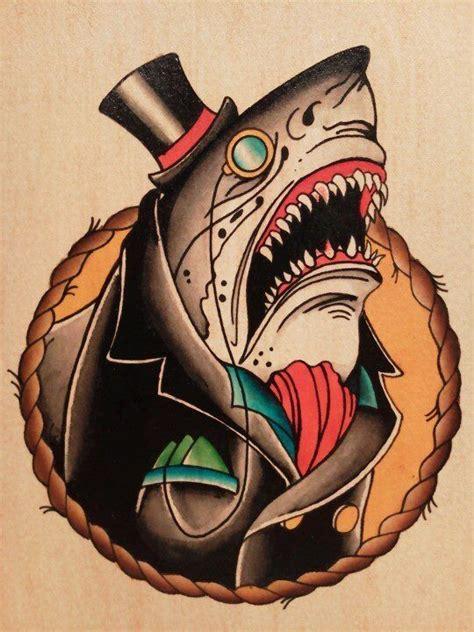 tattoo old school gentleman a gentleman shark yess shark love pinterest jokes