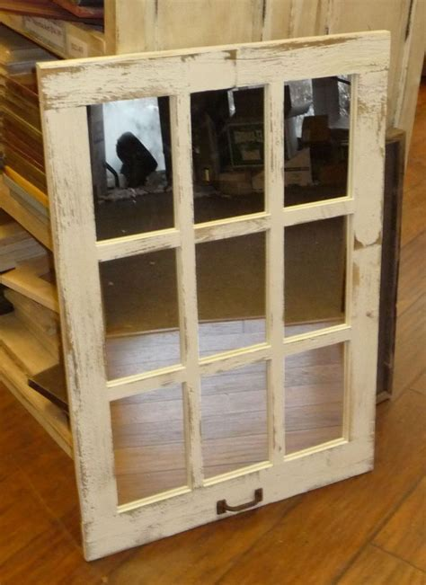 Details about Barn Wood 9 Pane Window Mirror Vertical