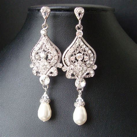 Swarovski Strass Crystal Chandelier Vintage Bridal Earrings Chandelier Wedding Earrings Art Deco