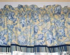 Blue floral toile yellow valance 1 7 quot x 58 quot drapery weight can alter