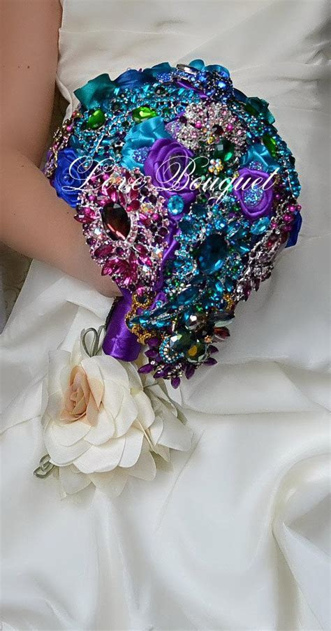 Turquoise And Purple Wedding Bouquets