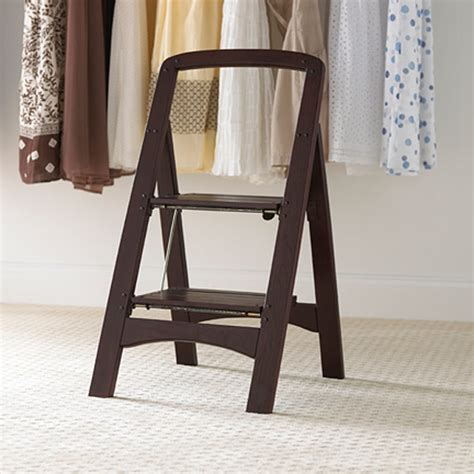 Closet Step Ladder by Walnut 2 Step Wooden Stool The Container Store