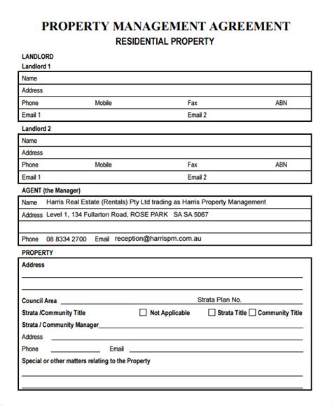 Property Management Forms Templates 9 Sle Property Management Agreement Templates To Download Sle Templates