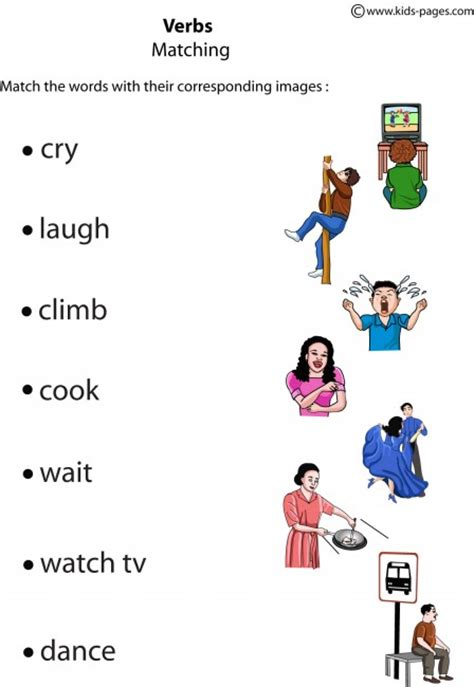 Verbs For Kindergarten Worksheets by Verbs Matching 2 Worksheet