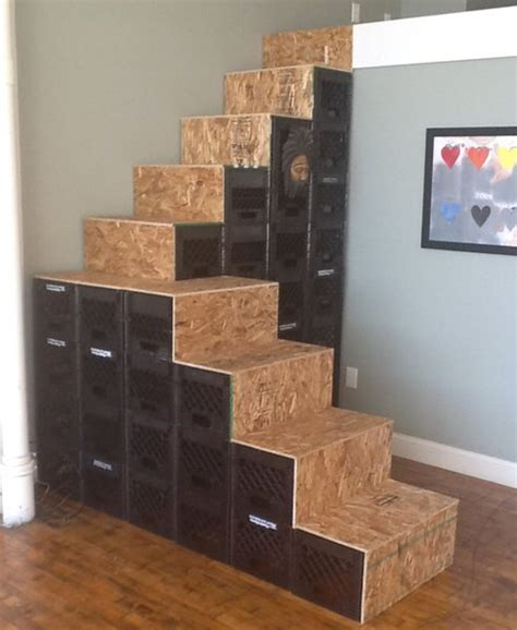 how to get milk out of couch inspired treehugger reader builds stair out of milk crates