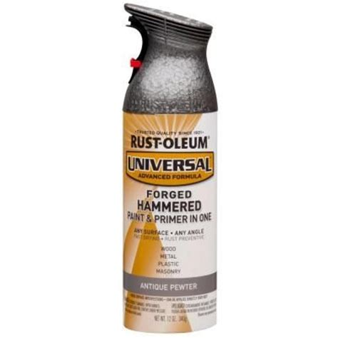 rust oleum universal 12 oz all surface forged hammered antique pewter spray paint and primer in