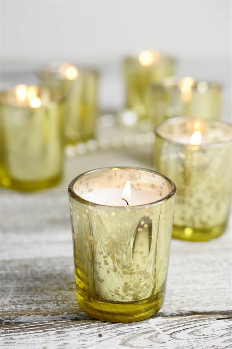 candele votive 12 pre filled candles gold mercury glass votive holders
