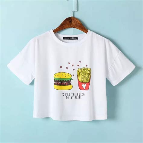 Adorable Shirts 2015 Hamburger Chips Print T Shirt