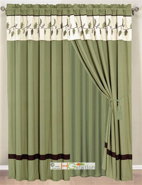 sage green curtains 4 pc leaves embroidery striped curtain set sage green