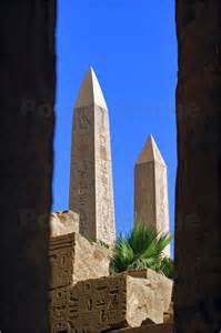 Poster the two obelisks of queen hatshepsut viewed in the temple of