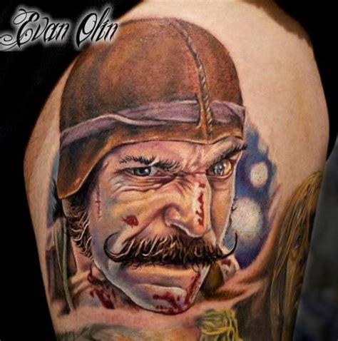the butcher tattoo bill the butcher color portrait from gangs of new