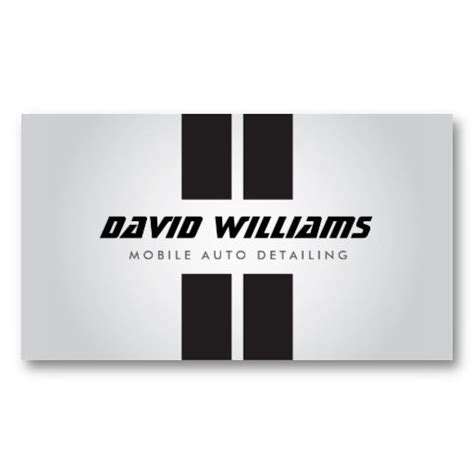 Auto Repair Business Card Template by Racing Stripes Gray Black Auto Detailing Repair Business