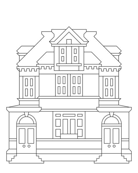 buildings free colouring pages