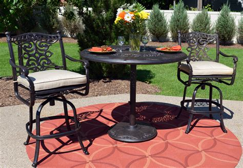 Cast Aluminum Patio Furniture Sets Serena Luxury 3 All Welded Cast Aluminum Patio Furniture Bar Height Set