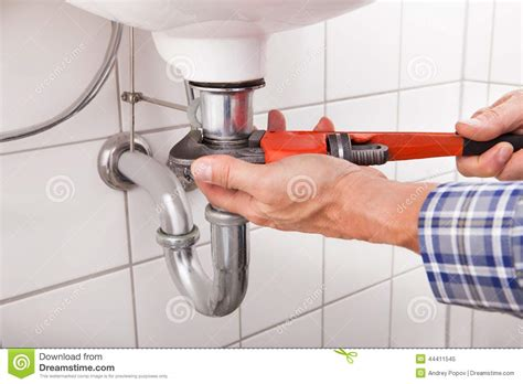 Plumber Fitting Sink Pipe Stock Photo   Image: 44411545