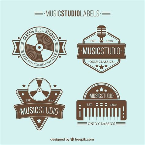 printable music stickers vintage music studio stickers vector free download