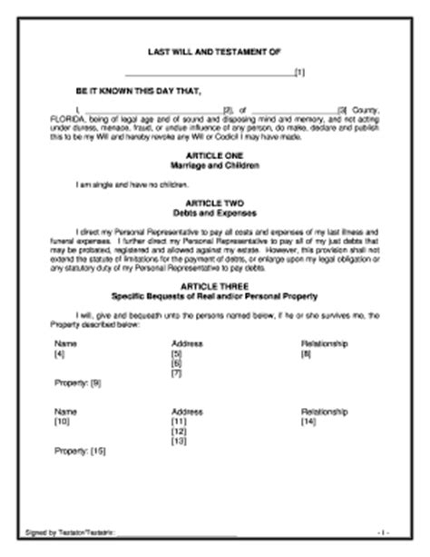 Bill Of Sale Form Illinois Last Will And Testament Sle Templates Fillable Printable Will Template Florida