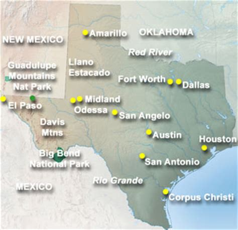 mountains in texas map
