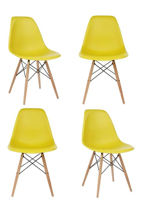 Shin Nakawarna Plastisol Special Yellow And Orange Series set of 4 eames style dsw molded yellow plastic dining shell chair with wood eiffel legs