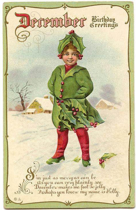 December Birthday Cards Vintage Graphic December Birthday Holly Fairy The